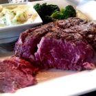Stag ribeye steak with creamy prawn sauce