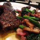 Lamb chops and fat salad
